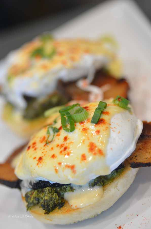 Eggs Benedict with Creamed Kale and Gruyère Fondue
